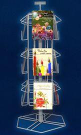 """12 Pocket Card Display, 30""""(H) X 18"""" Base, 12 Pockets: 5 3/8"""" X 1 1/2""""(D), Includes Signholder"""