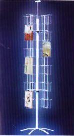 """24 Pocket Card Display, 64""""(H) X 18"""" Base, 24 Pockets: 5 3/8"""" X 1 1/2""""(D), Includes Signholder"""