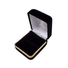 "1 7/8"" x 2 1/8"" x 1 1/2"" H Velvet Metal Ring Box With Gold Trim, 12 pcs/pk, Black"