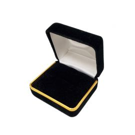 "2 3/8"" x 2"" x 1 1/2"" HVelvet Metal Double Ring Box With Gold Trim, 12 pcs/pk, Black"