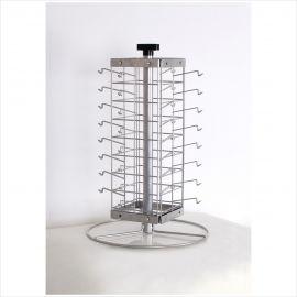 "Sunglass Rack, Silver Metal/Wire/Pvc, Rotates Freely, 16"" (L) X 24""(H) X 16""(W), Holds 32 Pcs"