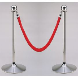 Set Of 2 Stanchion Posts With 6.5' Hanging Red Rope