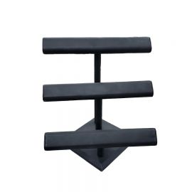Three Tier Velvet T-Bar 12″x13 1/8″H - Black velvet, White Leather