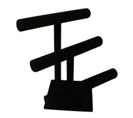 "3 Tier Black Velvet T-Bar Display, 12"" W x 10"" D x 13"" H"