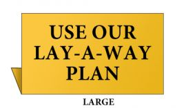 Jewelry Metal Sign, Large, Goldtone, Use our Lay-A-Way Plan