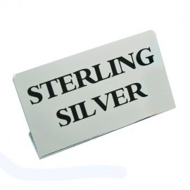 """Jewelry Metal Sign, 1 3/4"""" x 1 1/4"""" H, Sterling Silver (Small)"""