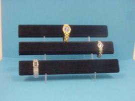 "3 Level Black Velvet Oval Watch Display With Acrylic Stand 16""X9''X6"" (Wxdxh)"