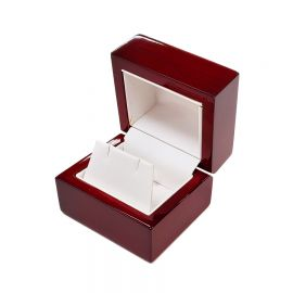 """Classic Premium Rosewood Earring Box, 2 1/4"""" L x 2"""" W x 1 7/8"""" H - Glossy Wood with White Faux Leather Interior"""