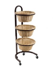 "3 Tier Round Wicker Basket Display, Overall: 20""(L) X 13 1/8""(W) X 42""(H), Basket: 15""(D) X 7""(H)"