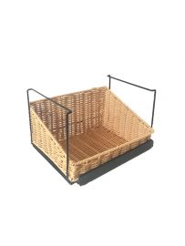 """Stackable Wicker Display, Overall: 13 1/4""""L X 10""""W X 6 1/2""""H X 5/32""""T, Basket: 12""""(L) X 9""""(W) X 3 1/2""""(H), Signage Space: 1 1/4""""H, Spacing Between Stacks: 4 1/2"""