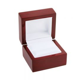 """Classic Premium Rosewood Single Ring Box, 2 1/4"""" L x 2"""" W x 2"""" H - Glossy Wood with White Faux Leather Interior"""