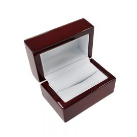 """Classic Premium Rosewood Double Ring Box, 3"""" L x 2"""" W x 2"""" H - Glossy Wood with White Faux Leather Interior"""