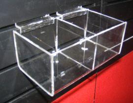 """2 Square Bin Shelf For Slatwall Displays 8""""(W)X4""""(D)X3""""(H)"""