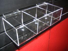 """3 Square Bin Shelf For Slatwall Displays 12""""(W)X4""""(D)X3""""H)"""