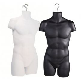 Male Full Body Form, Round Plastic Form with Hook - Black, White, Pack of 25